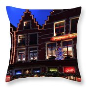 Christmas Decorations On Buildings In Bruges City Throw Pillow