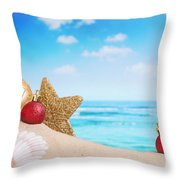 Christmas Decorations On The Beach Throw Pillow