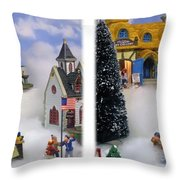 Christmas Display - Gently Cross Your Eyes And Focus On The Middle Image Throw Pillow