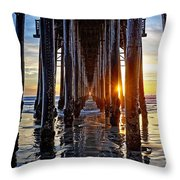 Christmas Eve At The Pier Throw Pillow