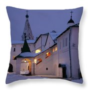 Christmas Evening Light In The Temple Suzdal Throw Pillow
