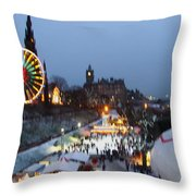 Christmas Fair Edinburgh Scotland Throw Pillow