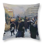 Christmas Fair  Throw Pillow by Heinrich Matvejevich Maniser