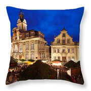 Christmas Fair In Front Of Town Hall Throw Pillow