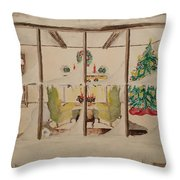 Christmas Fireside Throw Pillow