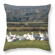 Christmas Geese Throw Pillow