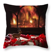 Christmas Gifts By The Fireplace Throw Pillow