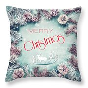 Christmas Greeting Card, By Imagineisle Throw Pillow