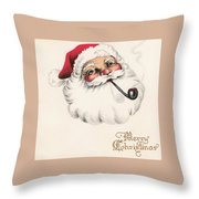 Christmas Greetings 1229 - Vintage Christmas Cards - Santa Claus With Pipe Throw Pillow