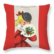 Christmas Greetings 1236 - Vintage Christmas Cards - Little Girl With Snow Ball Throw Pillow