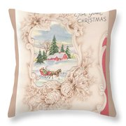 Christmas Greetings 1251 - Vintage Christmas Cards - Snowy Cottage Throw Pillow
