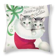 ae42491eed534 Christmas Greetings 685 - Vintage Christmas Cards - Cute Kitten Inside A Christmas  Hat Throw Pillow