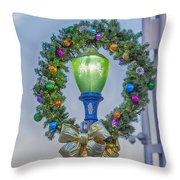 Christmas Holiday Wreath With Balls Throw Pillow