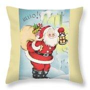 Christmas Illustration 1216 - Vintage Christmas Cards - Santa Claus With Christmas Gifts Throw Pillow