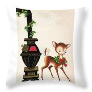 Christmas Illustration 1217 - Vintage Christmas Cards - Reindeer Throw Pillow
