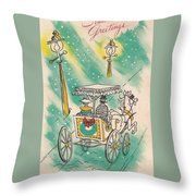 Christmas Illustration 1218 - Vintage Christmas Cards - Horse Drawn Carriage Throw Pillow