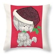 Christmas Illustration 1219 - Vintage Christmas Cards - Little Dog With Chrismtas Hat Throw Pillow
