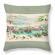 Christmas Illustration 1220 - Vintage Christmas Cards - Landscape Painting Throw Pillow