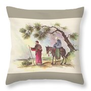 Christmas Illustration 1221 - Vintage Christmas Cards - Mother Mary With Infant Jesus Throw Pillow