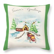 Christmas Illustration 1226 - Vintage Christmas Cards - Horse Drawn Carriage Throw Pillow
