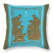 Christmas Illustration 1227 - Vintage Christmas Cards - Mother Mary With Infant Jesus Throw Pillow