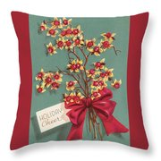 Christmas Illustration 1228 - Vintage Christmas Cards - Holiday Cheer - Flowers Throw Pillow