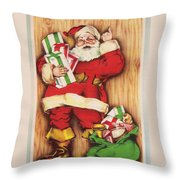 Christmas Illustration 1230 - Vintage Christmas Cards - Santa Claus With Christmas Gifts Throw Pillow