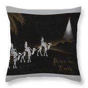 Christmas Illustration 1238 - Vintage Christmas Cards - Three Kings On Camel Throw Pillow