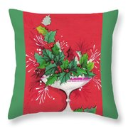 Christmas Illustration 1241 - Vintage Christmas Cards - Mistletoe Throw Pillow