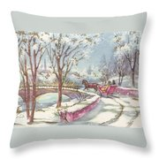 Christmas Illustration 1243 - Vintage Christmas Cards - Horse Drawn Sleigh Throw Pillow