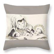 Christmas Illustration 1248 - Vintage Christmas Cards - Infant Jesus On Crib Throw Pillow