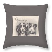 Christmas Illustration 1252 - Vintage Christmas Cards - Two Dogs Throw Pillow