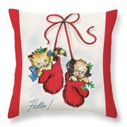 Christmas Illustration 1253 - Vintage Christmas Cards - Little Dog And Kitten Throw Pillow