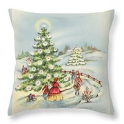 Christmas Illustration 15 - Winter Ladscape During Christmas Time Throw Pillow