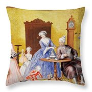 Christmas In The Royal Household Of Empress Maria Theresa Of Austria With Family Throw Pillow