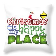 Christmas Is My Happy Place Throw Pillow