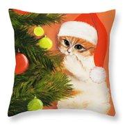 Christmas Kitty Throw Pillow by Anastasiya Malakhova