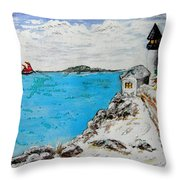 Christmas Lighthouse Throw Pillow