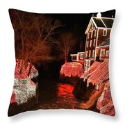Christmas Lights At Clifton Mill Throw Pillow