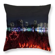 Christmas Lights At Lafarge Lake In City Of Coquitlam Throw Pillow