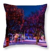 Christmas Lights At Locomotive Park Throw Pillow
