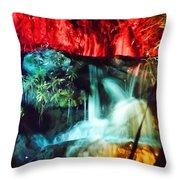 Christmas Lights At The Waterfall Throw Pillow