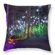 Christmas Lights Decoration Along Lafarge Lake Path Throw Pillow