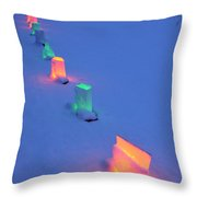Christmas Lights In The Snow Throw Pillow