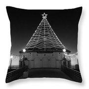 Christmas Lights On Manhattan Pier B And W Throw Pillow
