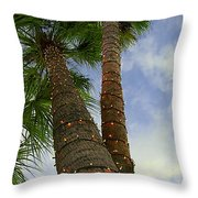 Christmas Lights On Palm Trees Throw Pillow