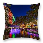 Christmas Lights On The Riverwalk 2 Throw Pillow