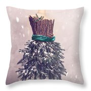 Christmas Mannequin Dressed In Fir Branches Throw Pillow