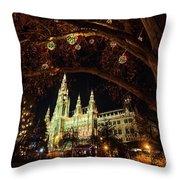 Christmas Market At The Vienna City Hall Throw Pillow
