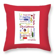 Christmas Message  -  Typography Throw Pillow